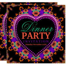 Groovy Hippy Love Bohemian Dinner Party Invitation