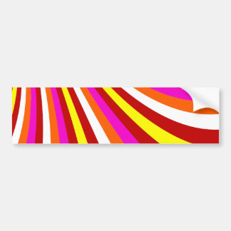 Groovy Hot Pink Red Yellow Orange Stripes Pattern Car Bumper Sticker