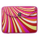 Groovy Hot Pink Red Yellow Orange Stripes Pattern MacBook Pro Sleeve