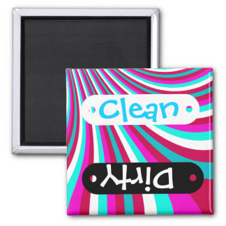 Groovy Hot Pink Teal Rainbow Slide Stripes Pattern 2 Inch Square Magnet