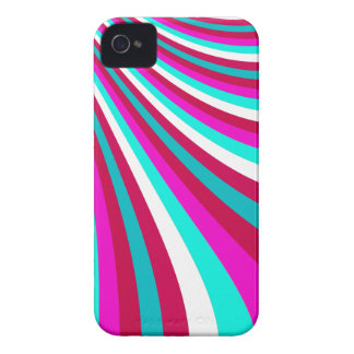 Groovy Hot Pink Teal Rainbow Slide Stripes Pattern iPhone 4 Cover