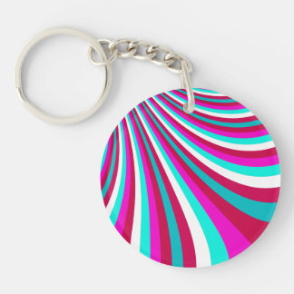 Groovy Hot Pink Teal Rainbow Slide Stripes Pattern Keychain