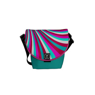 Groovy Hot Pink Teal Rainbow Slide Stripes Pattern Courier Bags