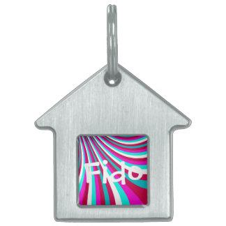 Groovy Hot Pink Teal Rainbow Slide Stripes Pattern Pet Name Tag
