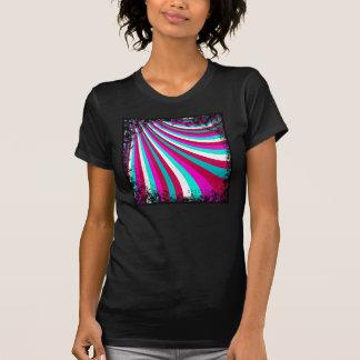Groovy Hot Pink Teal Rainbow Slide Stripes Pattern T-shirt