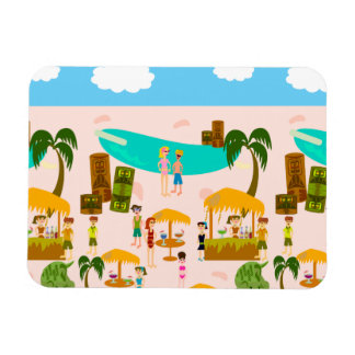 Groovy Jet Set Pool Party Rectangular Photo Magnet