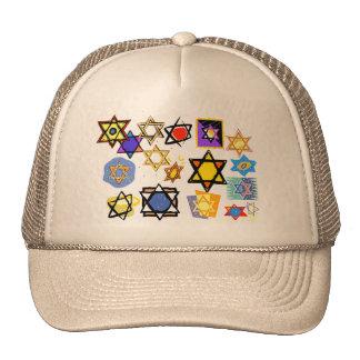 Groovy Jewish Stars Happy Hannukah! Mesh Hat