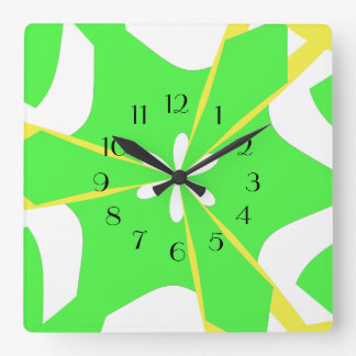 Groovy Lime Flower Power Square Wall Clock