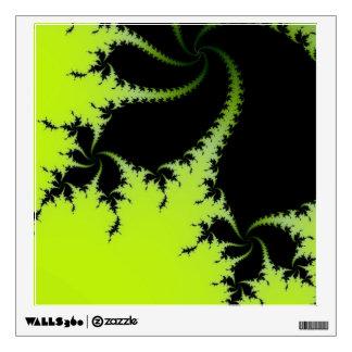 Groovy Lime Green & Black Spiral Fractal Art Wall Sticker