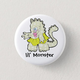 GROOVY LITTLE GREEN DINO MONSTER BUTTON