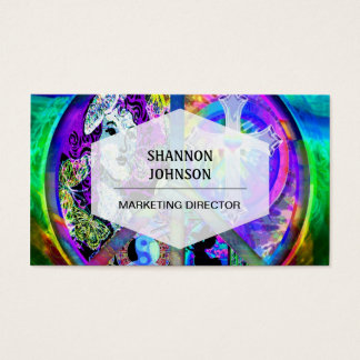Groovy Looking Peace Symbol Collage Business Card