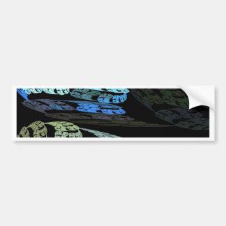 Groovy Luminous Blue Swirls Pattern Shapes Design Car Bumper Sticker