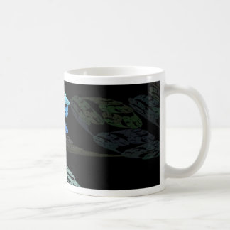 Groovy Luminous Blue Swirls Pattern Shapes Design Coffee Mug