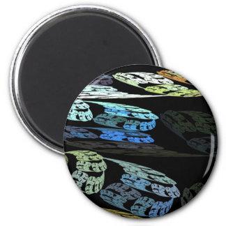 Groovy Luminous Blue Swirls Pattern Shapes Design Refrigerator Magnet