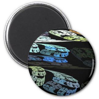 Groovy Luminous Blue Swirls Pattern Shapes Design Magnet