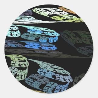 Groovy Luminous Blue Swirls Pattern Shapes Design Classic Round Sticker