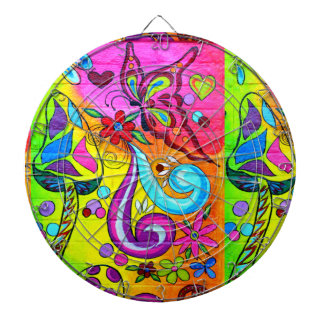 groovy magic mushroom and butterfly dartboard