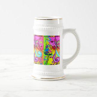 groovy magic mushroom butterfly beer stein coffee mugs