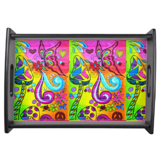 groovy magic mushrooms and butterflies tray serving trays