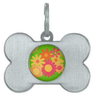 groovy mod floral pet tag
