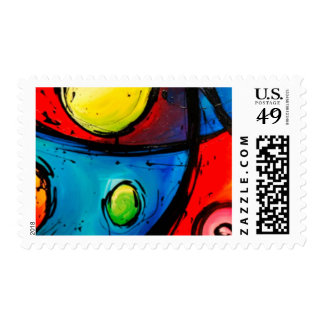 Groovy Modern Abstract Flowing Design Postage Stamp
