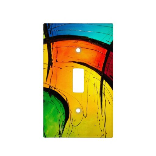 Groovy Modern Abstract Painting Switch Plate Cover Zazzle
