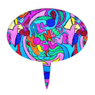 groovy multi-color hippie love cake pick