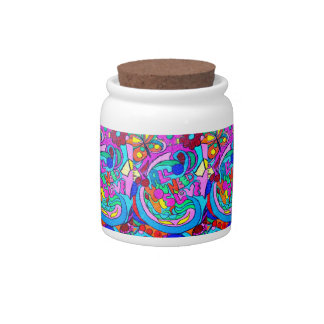 groovy multi-color love candy jar