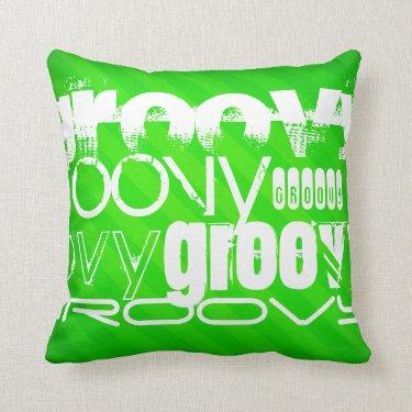 Groovy; Neon Green Stripes Throw Pillow