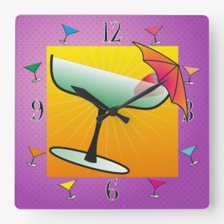 Groovy, Neon, Pop Cocktail Design Wall Clock