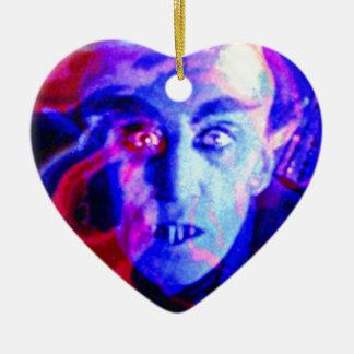 Groovy Nosferatu Double-Sided Heart Ceramic Christmas Ornament