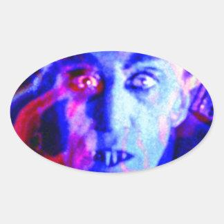 Groovy Nosferatu Oval Sticker