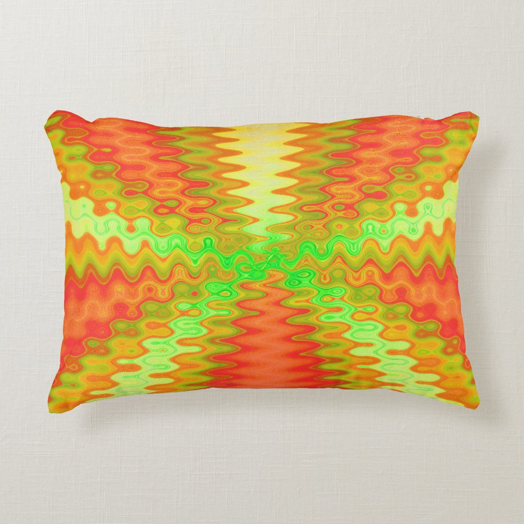 Groovy Orange abstract Decorative Pillow