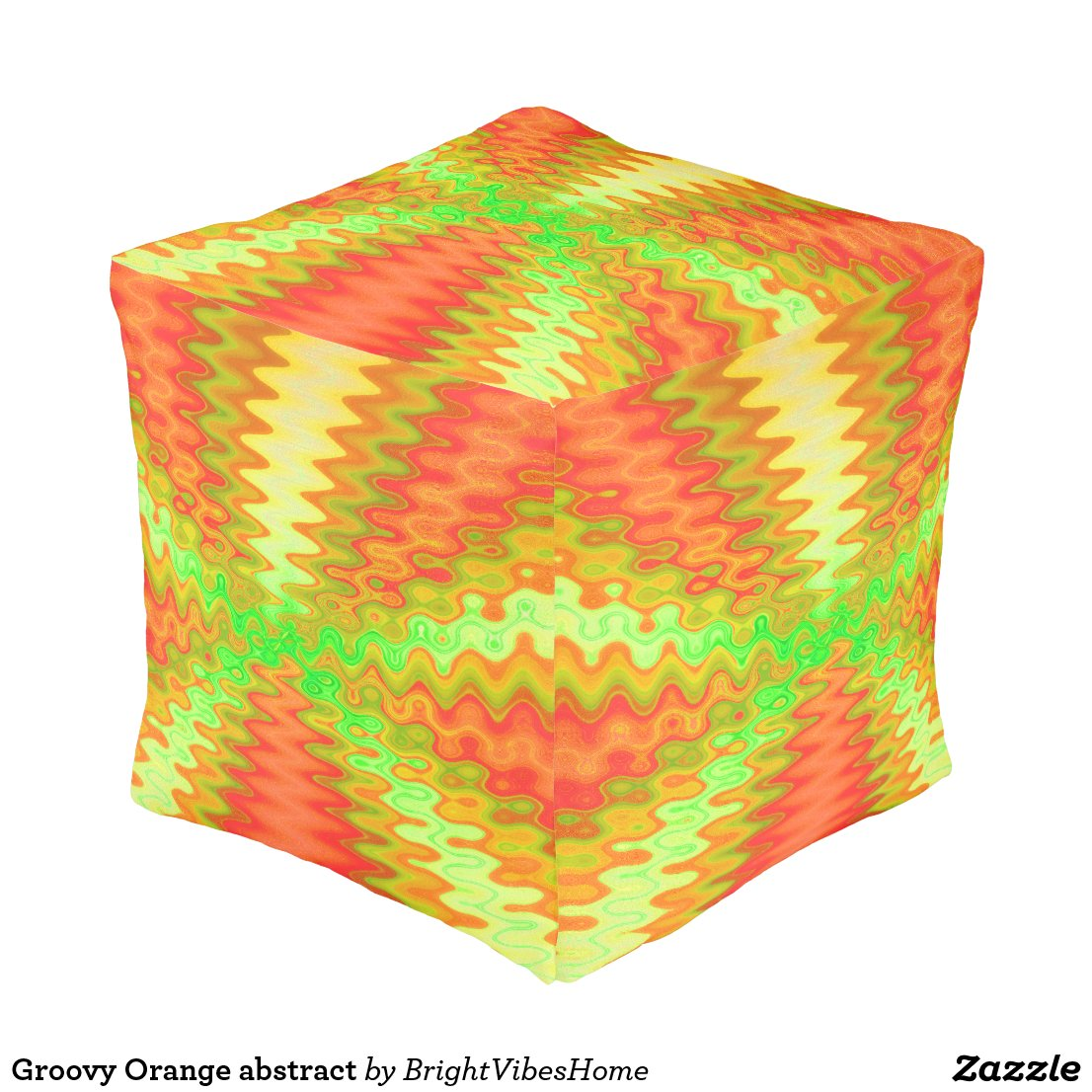 Groovy Orange abstract Pouf