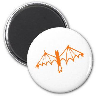 Groovy Orange Bat Halloween Design 2 Inch Round Magnet
