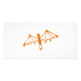 Groovy Orange Bat Halloween Design Card