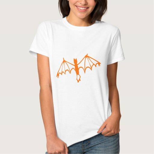 Groovy Orange Bat Halloween Design T-shirt
