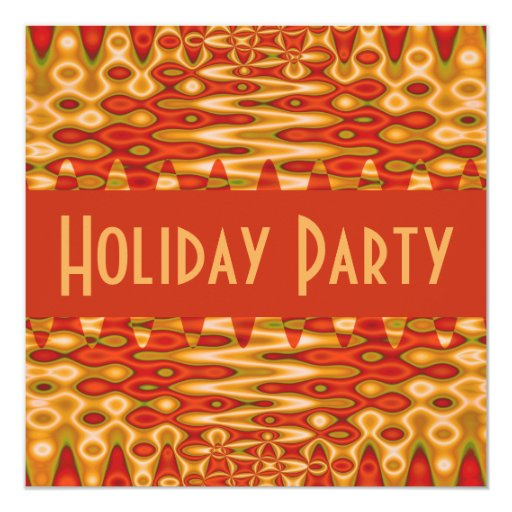 groovy orange holiday 5.25x5.25 square paper invitation card