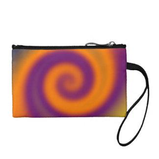 Groovy orange purple abstract swirl change purse