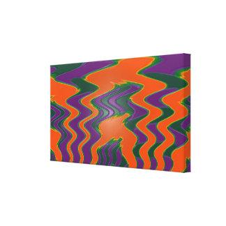 Groovy orange purple green abstract canvas print
