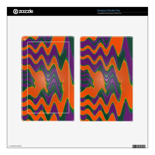 Groovy orange purple green decal for kindle fire