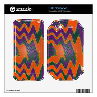 Groovy orange purple green HTC sensation skin