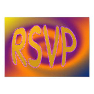 groovy orange purple RSVP Card