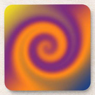 groovy orange purple swirl beverage coaster