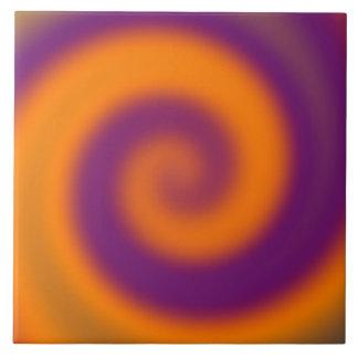 groovy orange purple swirl tile