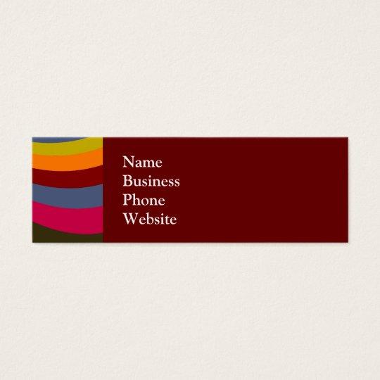 Groovy Orange Red Pink Green Rainbow Slide Stripes Mini Business Card