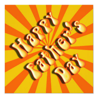 """Groovy Orange Retro For Father's Day 5.25"""" Square Invitation Card"""