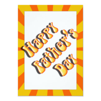 "Groovy Orange Retro For Father's Day 5"" X 7"" Invitation Card"