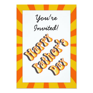 Groovy Orange Retro For Father's Day 5x7 Paper Invitation Card