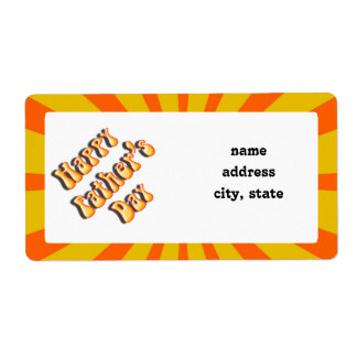 Groovy Orange Retro For Father's Day Shipping Label